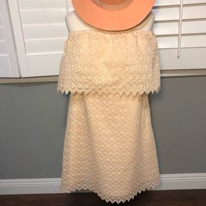Kensie Peach Eyelet Off the Shoulder Lace Dress